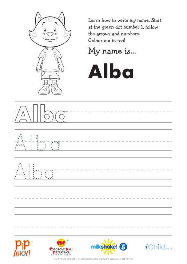 Alba Handwriting Practice Sheet (Pip Ahoy!)