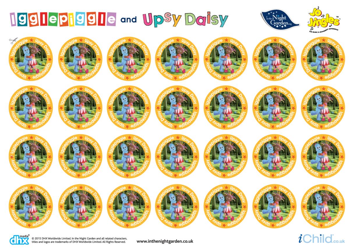 In the Night Garden Sticker Sheet: Igglepiggle & Upsy Daisy
