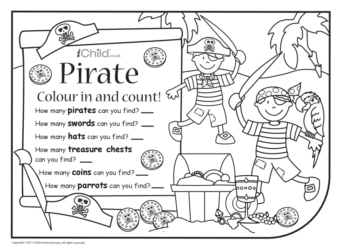 Colour in & Count - Pirate
