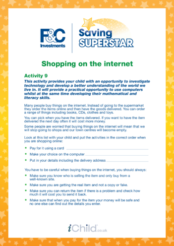 Thumbnail image for the Age 5-7 years (9) Shopping on the internet activity.