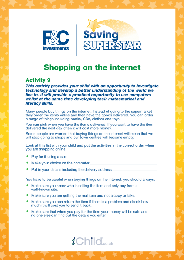 Age 5-7 years (9) Shopping on the internet