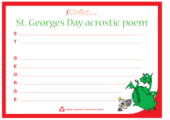 Thumbnail image for the St. George's Day Acrostic Poem activity.