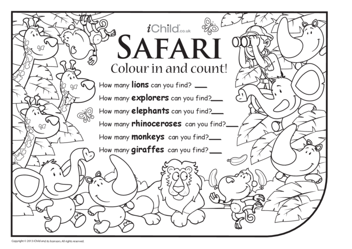 Thumbnail image for the Colour in & Count - Safari activity.
