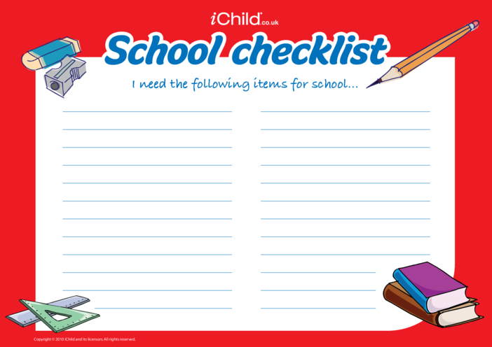 Thumbnail image for the Back to School Checklist activity.