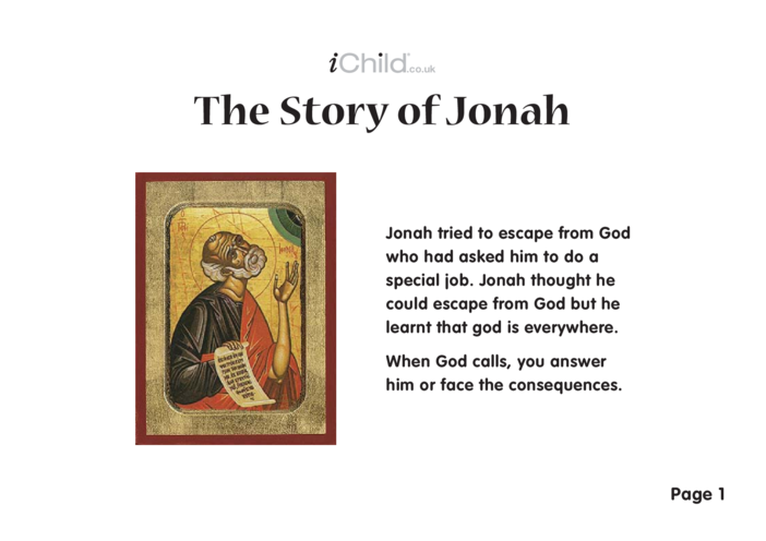 Thumbnail image for the The Story of Jonah (Jonah & the Whale) activity.
