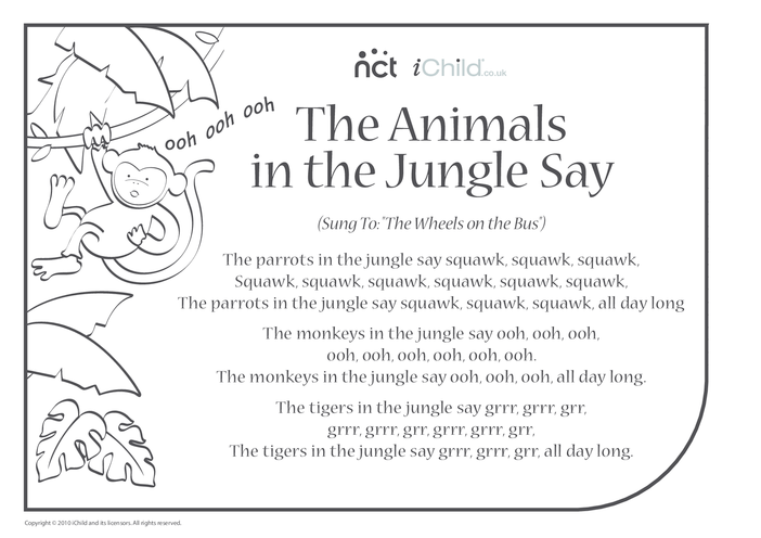Thumbnail image for the Cheeky Monkey Song Sheet 2 activity.