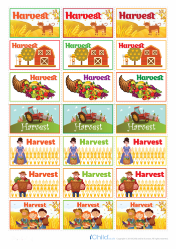Thumbnail image for the Harvest Festival Large Sticker Sheet activity.