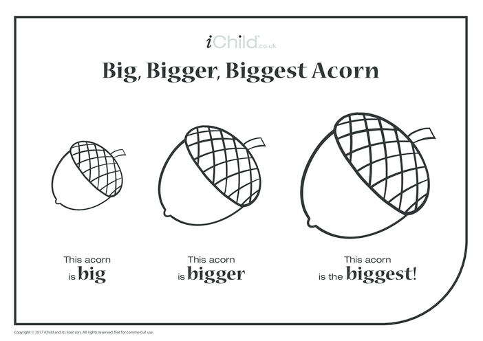Thumbnail image for the Big, Bigger, Biggest Acorn activity.