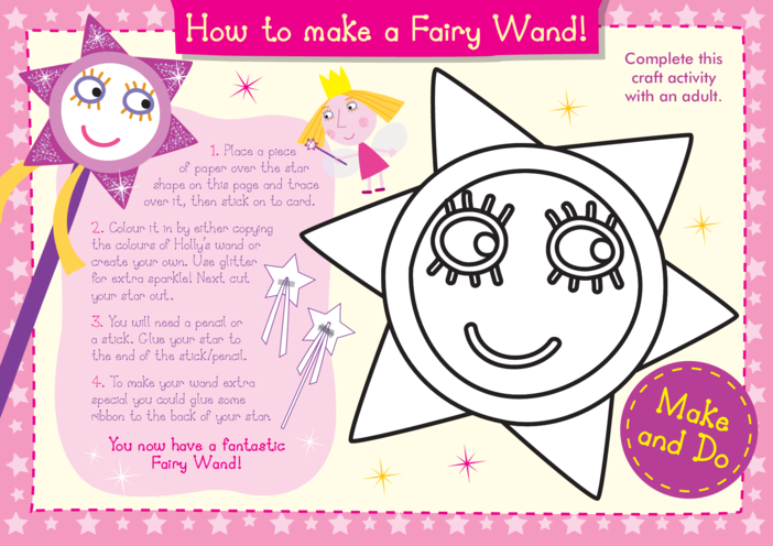 Thumbnail image for the Make a Fairy Wand Craft: Ben & Holly's Little Kingdom activity.
