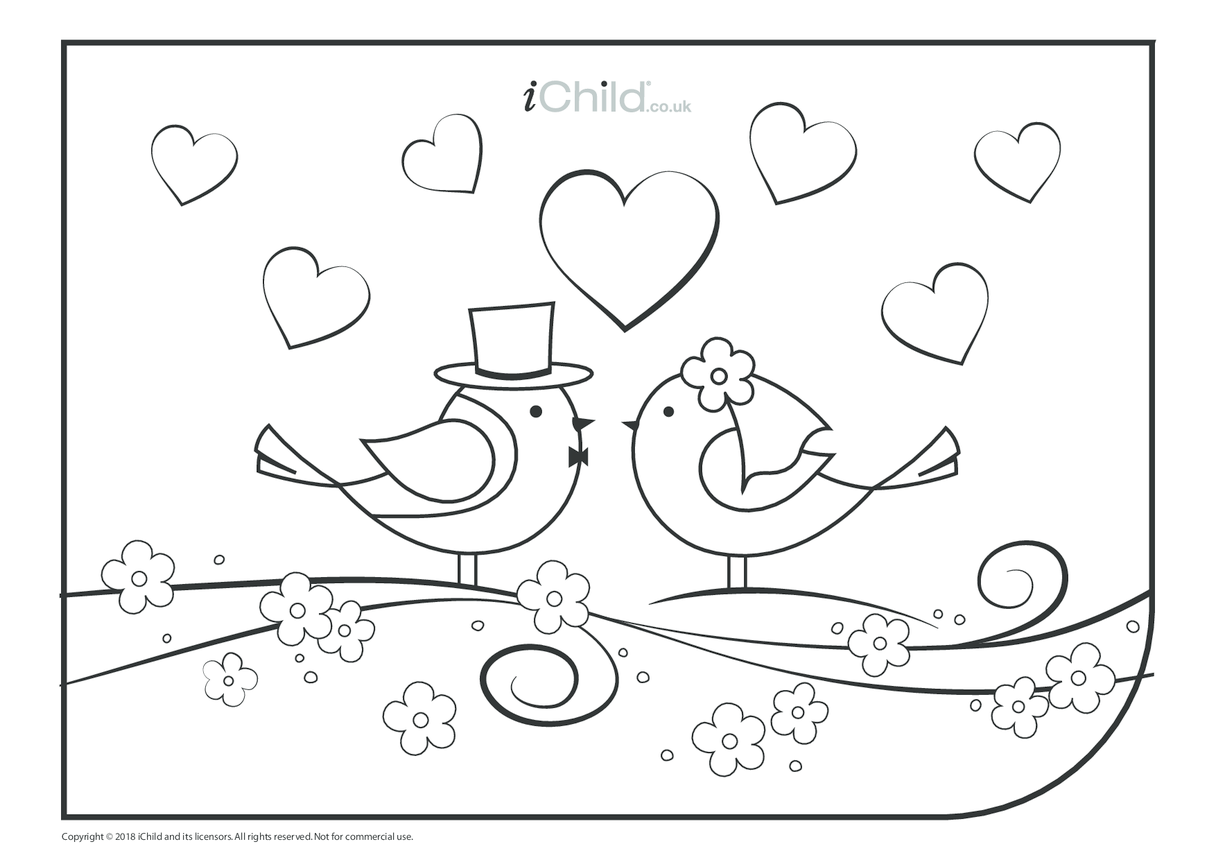 Royal Wedding Colouring in Picture (Beautiful Birds)