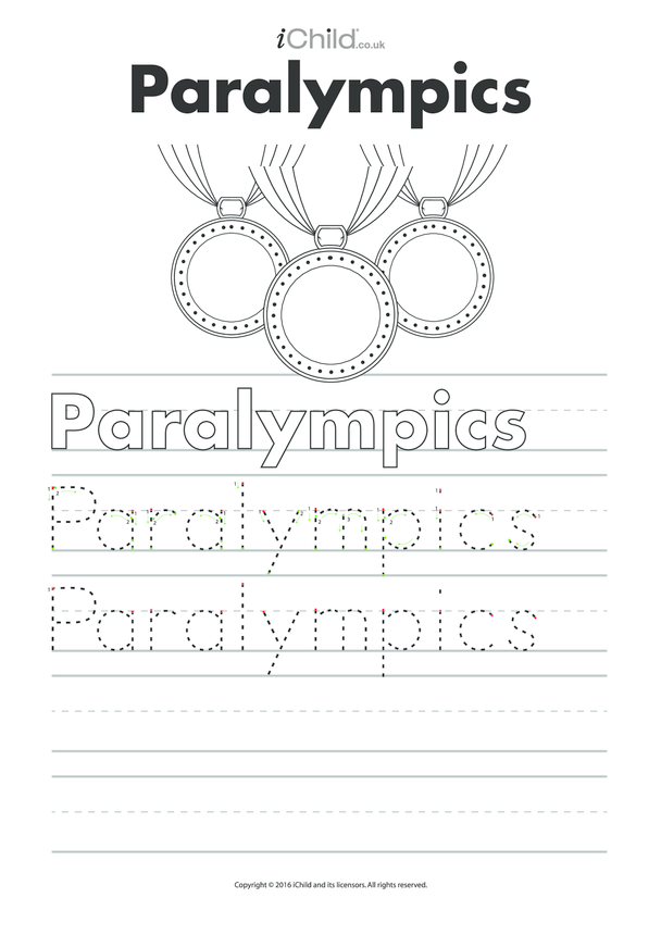 Paralympics Handwriting Practice Sheet