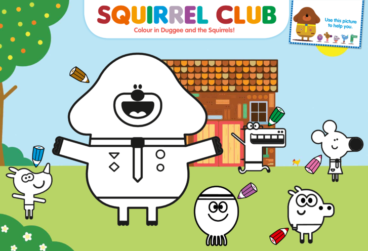 Thumbnail image for the The Squirrel Club Colouring in Picture activity.