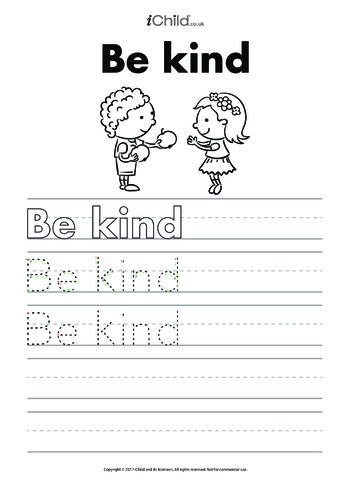 Thumbnail image for the Be Kind Handwriting Practice Sheet activity.