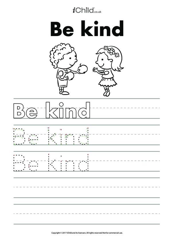 Be Kind Handwriting Practice Sheet