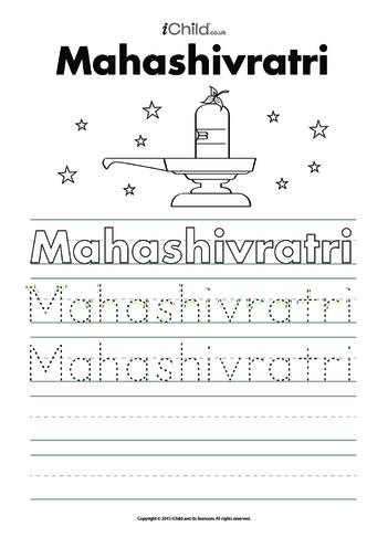 Thumbnail image for the Maha Shivratri Handwriting Practice Sheet activity.