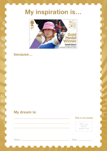 Thumbnail image for the My Inspiration Is- Danielle Brown- Gold Medal Winner Stamp Template activity.