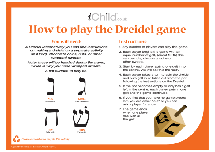 Thumbnail image for the Dreidel Game Instructions activity.