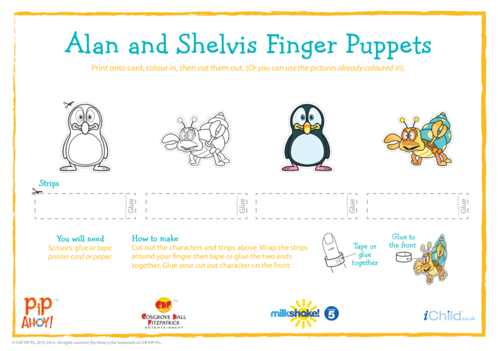 Thumbnail image for the Alan & Shelvis Finger Puppets (Pip Ahoy!) activity.