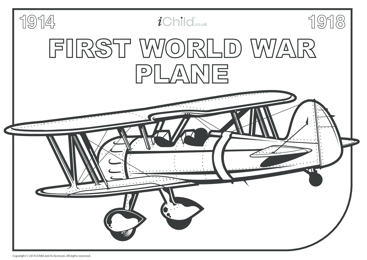 First World War Plane Colouring in Picture