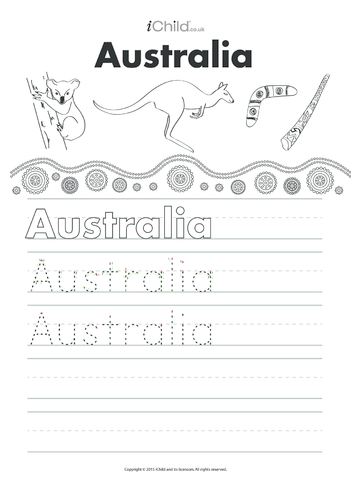 Thumbnail image for the Australia Handwriting Practice Sheet activity.