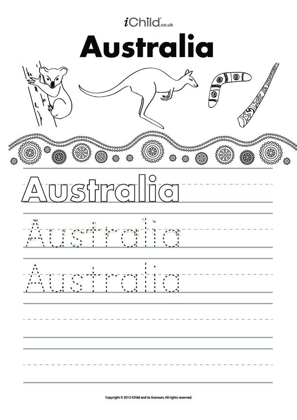 Australia Handwriting Practice Sheet