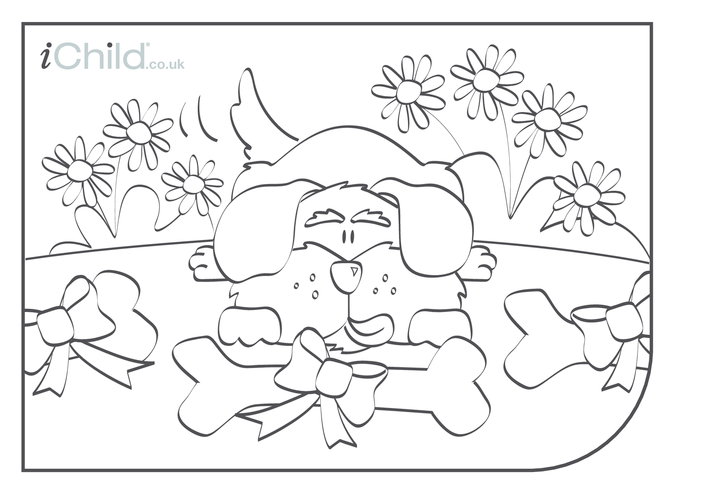 Thumbnail image for the Dog Colouring in picture activity.