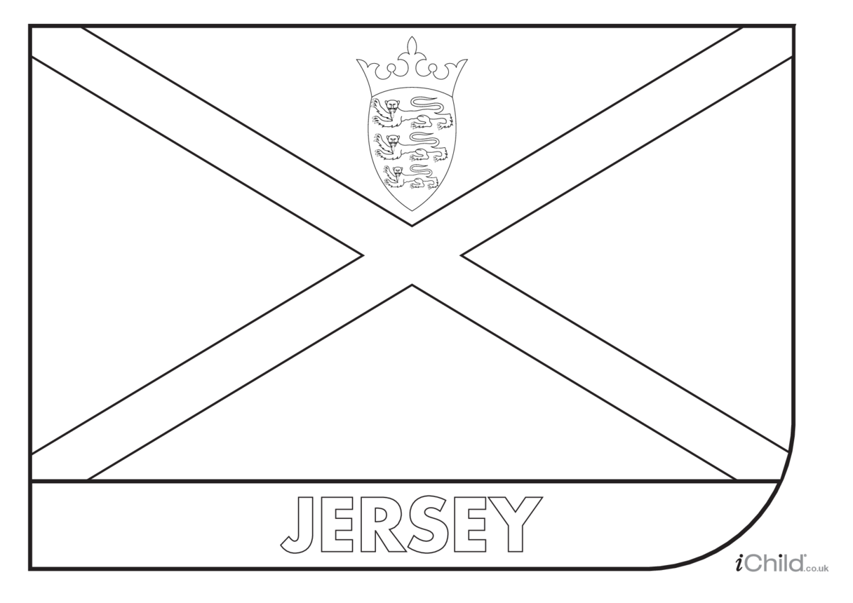 Jersey Flag Colouring in Picture (flag of Jersey)