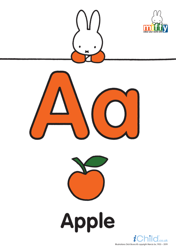 A: Miffy's Letter Aa (less ink)