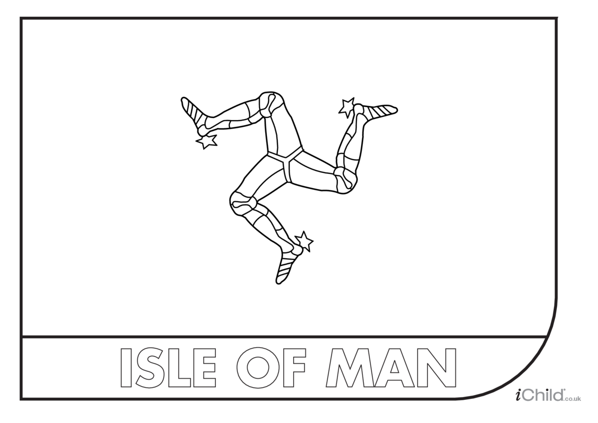 Isle of Man Flag Colouring in Picture (flag of Isle of Man)