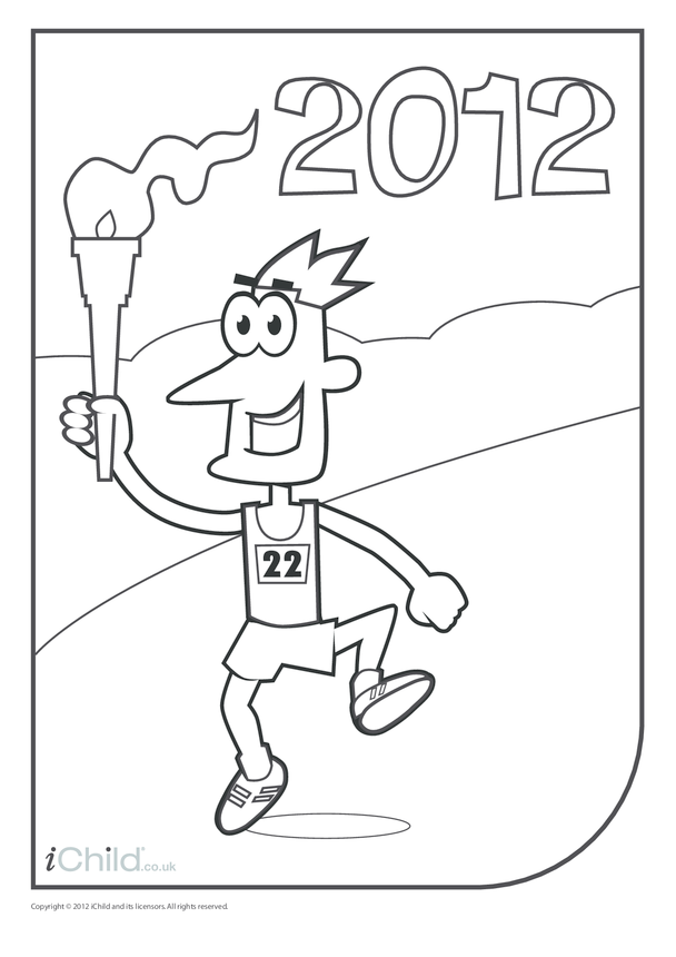 Torch Runner Colouring in Picture