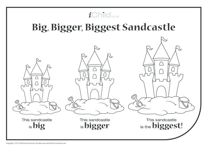 Thumbnail image for the Big, Bigger, Biggest Sandcastle activity.
