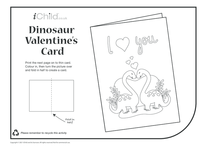 Thumbnail image for the Dinosaur Valentine's Card activity.
