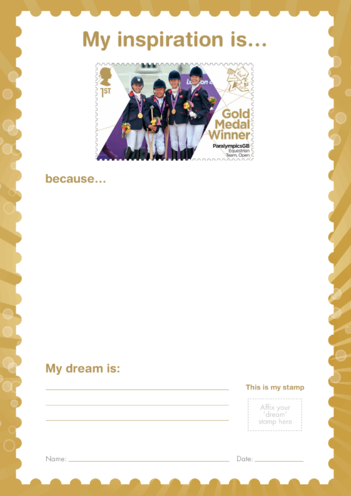 Thumbnail image for the My Inspiration Is- ParalympicsGB Equestrian Team- Gold Medal Winner Stamp activity.