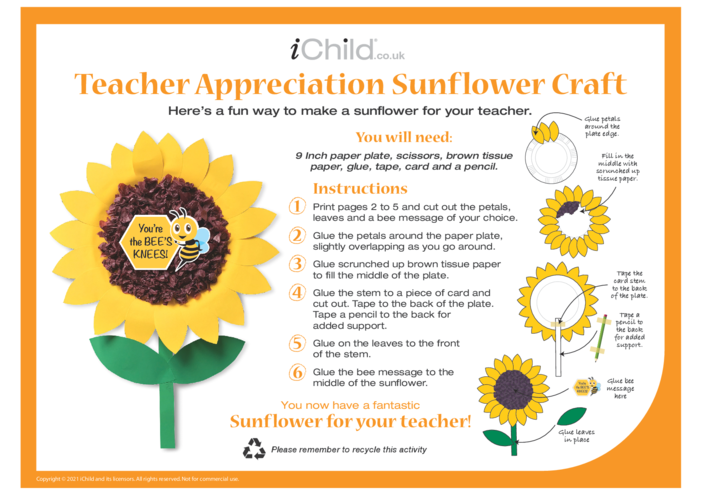 Thumbnail image for the Teacher Appreciation Sunflower Craft activity.