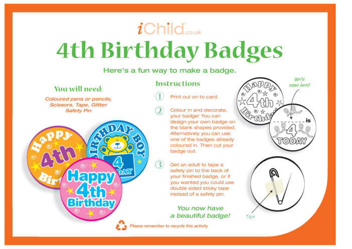 Thumbnail image for the Birthday Badges designs template for 4 year old 4th birthday activity.