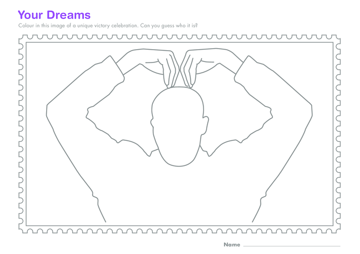 Thumbnail image for the Early Years 4) Your Dreams- Victory Celebration Colouring in activity.