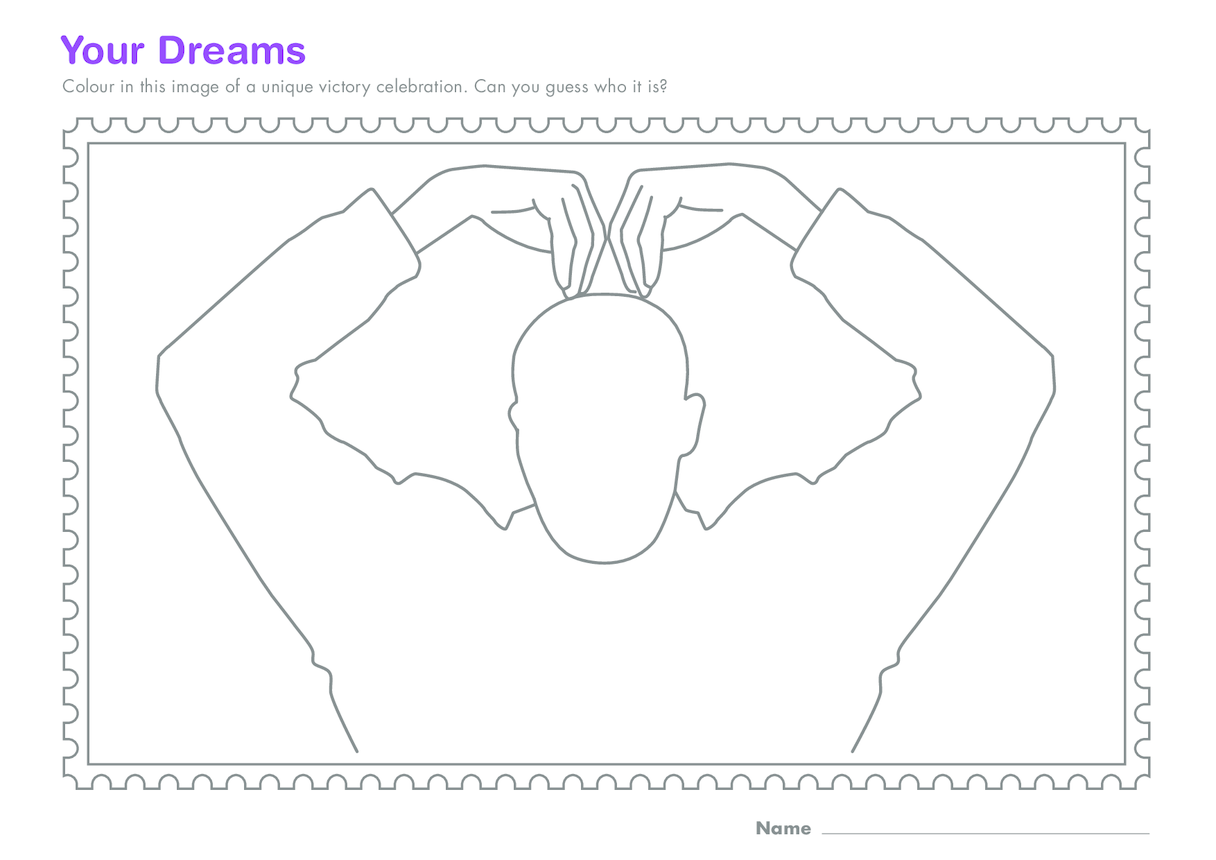 Early Years 4) Your Dreams- Victory Celebration Colouring in