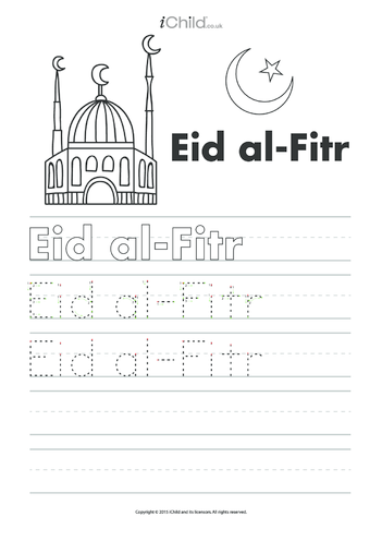 Thumbnail image for the Eid al-Fitr Handwriting Practice Sheet activity.