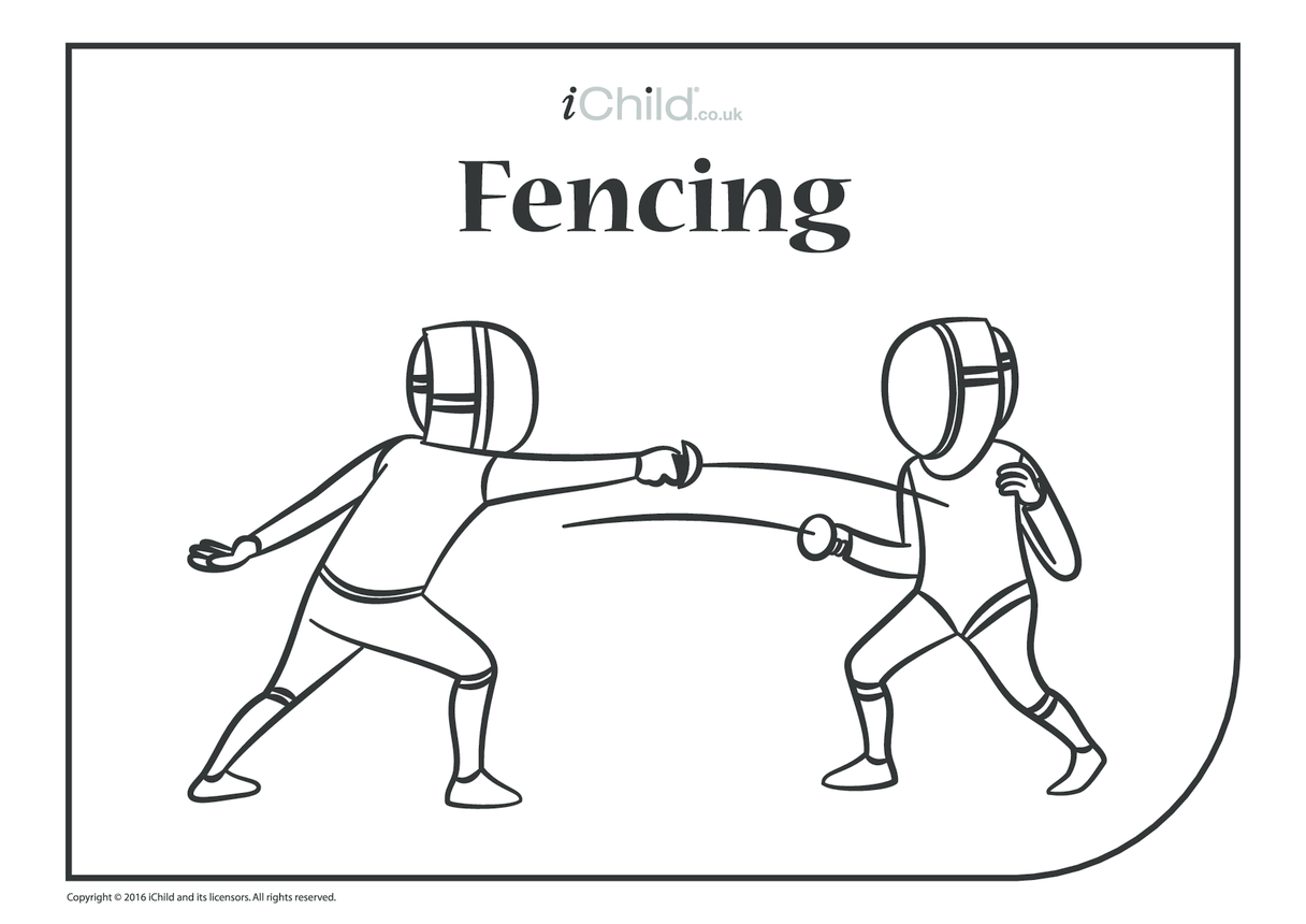 Fencing Colouring in Picture