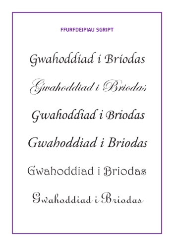 Thumbnail image for the Welsh Translation - Lesson Plan 5: 'Wedding Invitation' Script Typefaces activity.