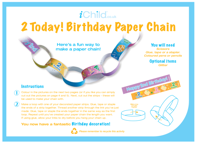 Thumbnail image for the Birthday Party Decoration Paper Chain for 2 year old 2nd birthday activity.