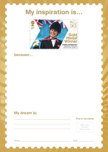 Thumbnail image for the My Inspiration Is- Sophie Christiansen- Gold Medal Winner Stamp Template activity.