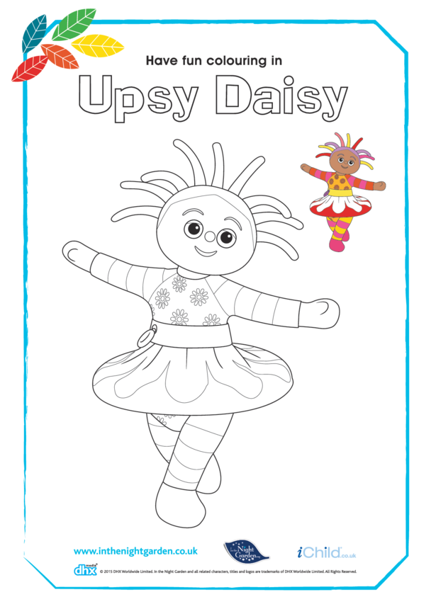 Upsy Daisy Dancing Colouring in Picture