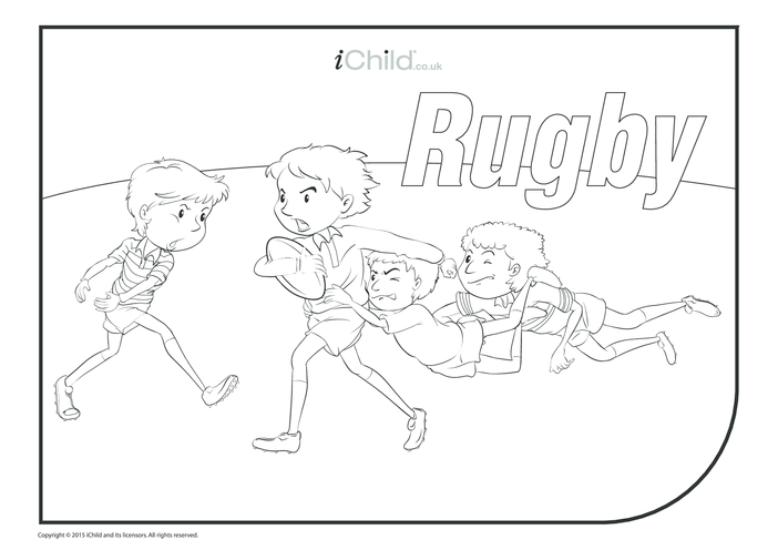 Thumbnail image for the Rugby Game Colouring in Picture activity.