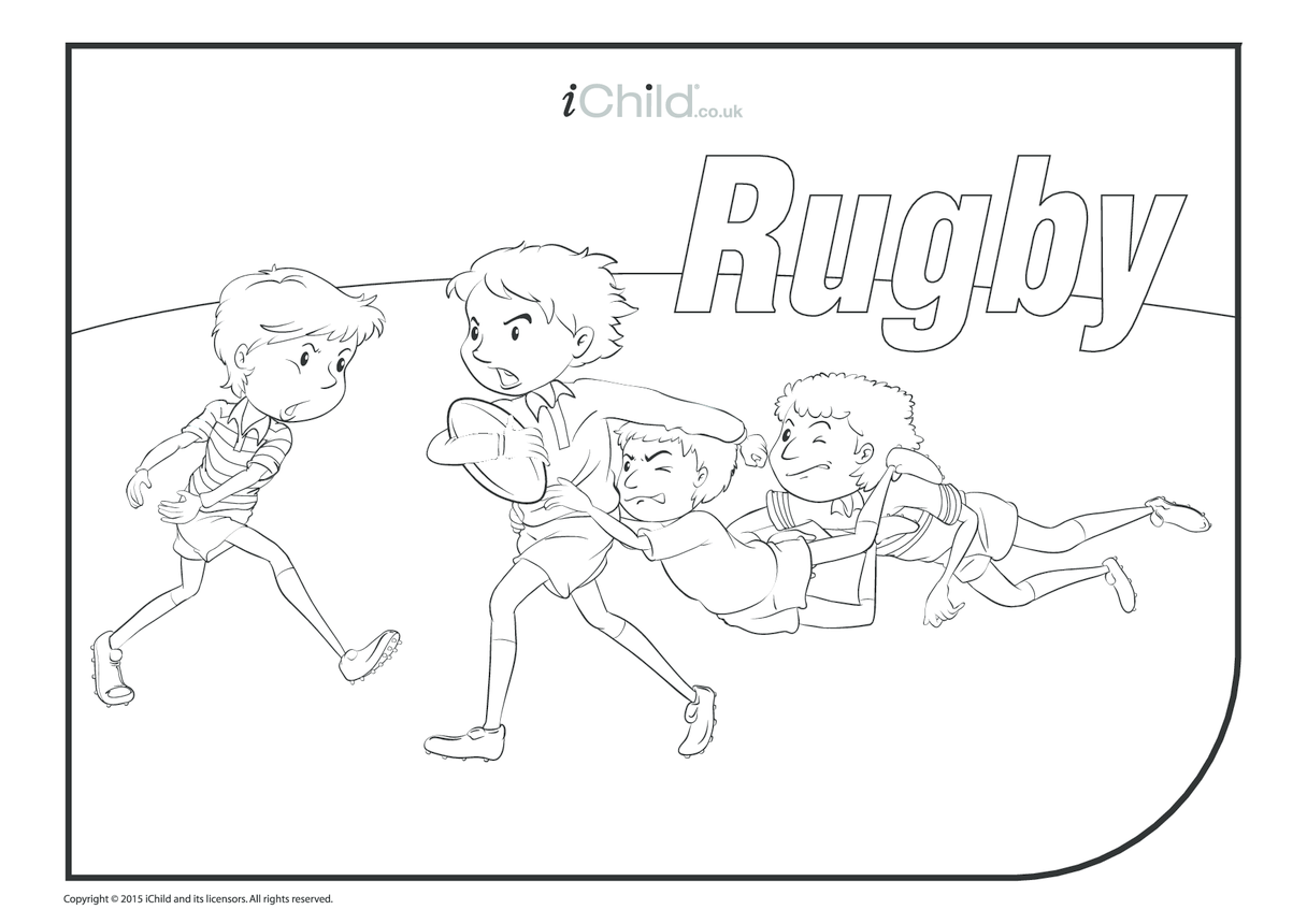 Rugby Game Colouring in Picture