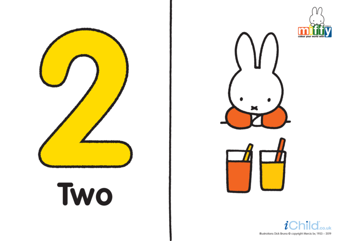 Thumbnail image for the Number 2 with Miffy (less ink) activity.