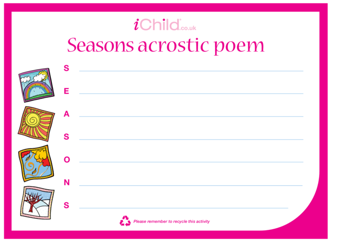 Thumbnail image for the Seasons Acrostic Poem activity.