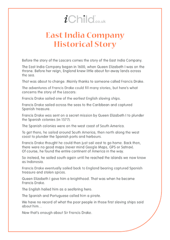 Thumbnail image for the Lascars: East India Company Historical Story - text only activity.