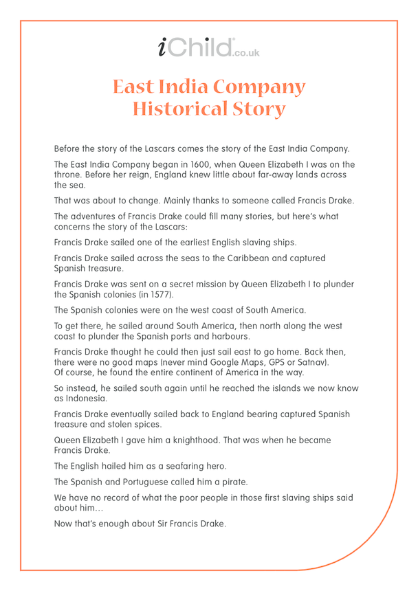 Lascars: East India Company Historical Story - text only