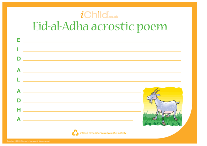 Thumbnail image for the Eid-ul-Adha Acrostic Poem activity.